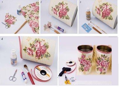 Portavela con flores