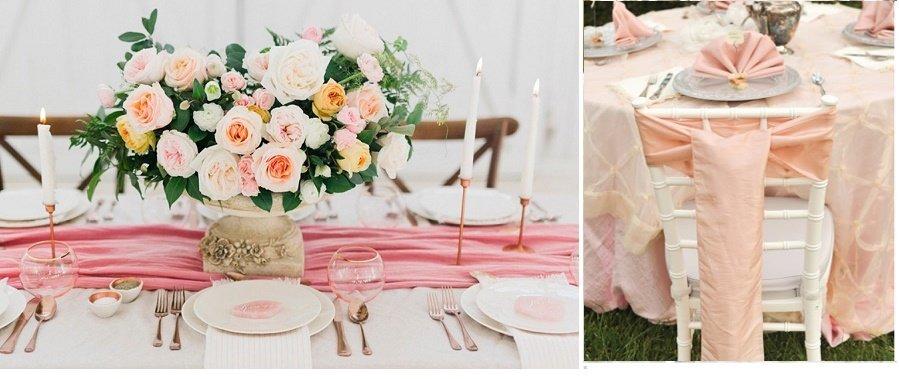 Vestir las mesas y sillas en tono rosa cuarzo